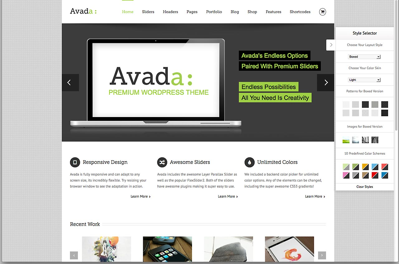 Wordpress Theme Avada Homepage