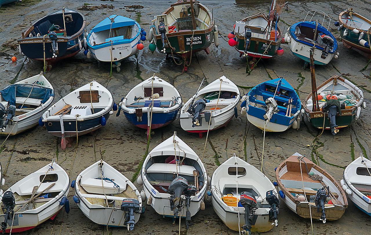 Roseland Peninsula - Boote bei Niedrigwasser